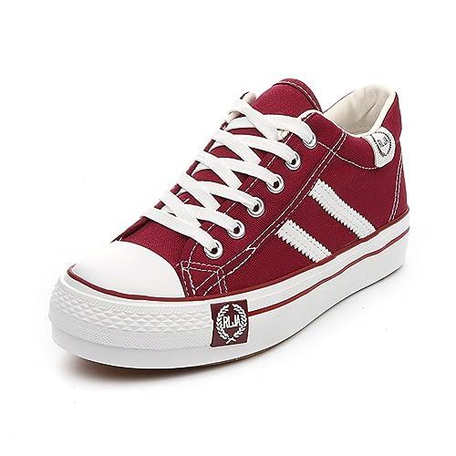 YUE Alpargatas primavera mayor/Zapatos de suela gruesa de aire plataforma estudiantes-D Longitud. Pasa el ratón por ...