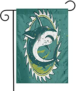 EMODFJCXZ Durable Garden Flag Sea Animal Decor Graphic of Shark Hunter in Dark Murky Colors Sharp Teeth Fish Marine Nautical Double-Sided Printing Green