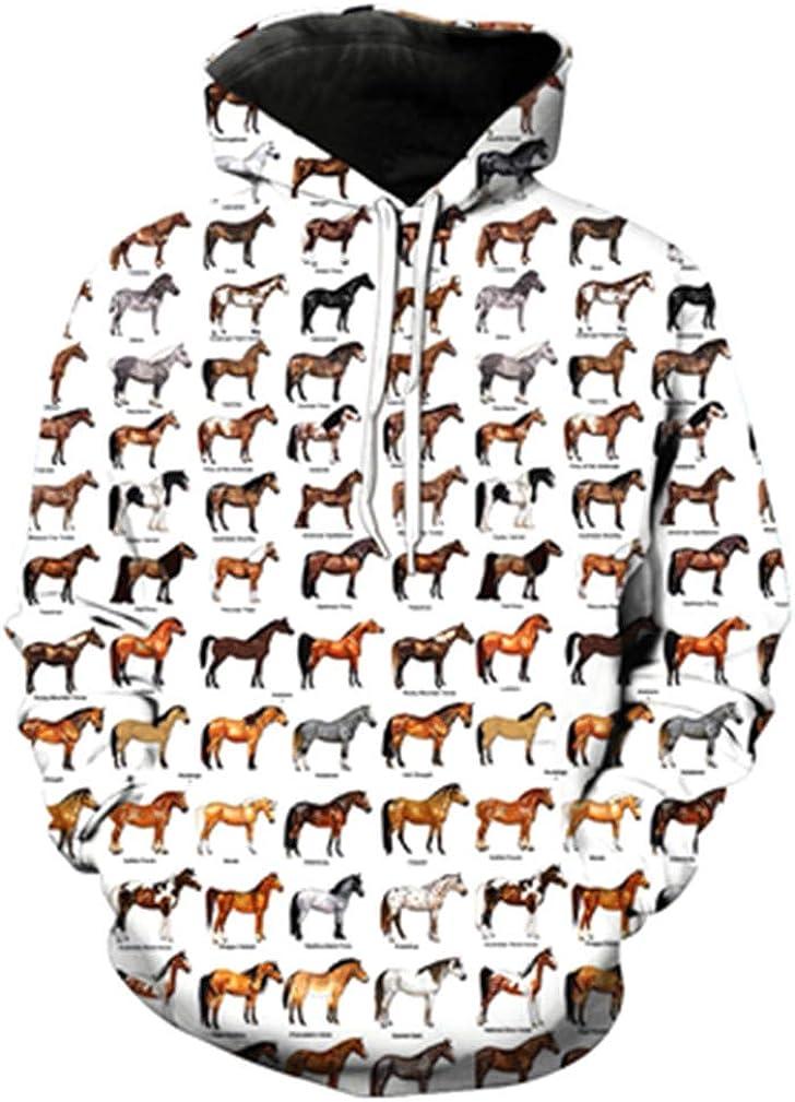 Women//Men 3D Hoodie Men Women Sweatshirt Casual Animals Horses Paint All