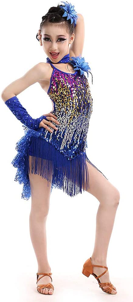 Chicas Lentejuelas Borla Disfraces Falda Flecos Concurso Latino Traje Sal/ón de Baile Escenario Competici/ón Dancewear Yudesun Danza Ropa Vestidos Ni/ña