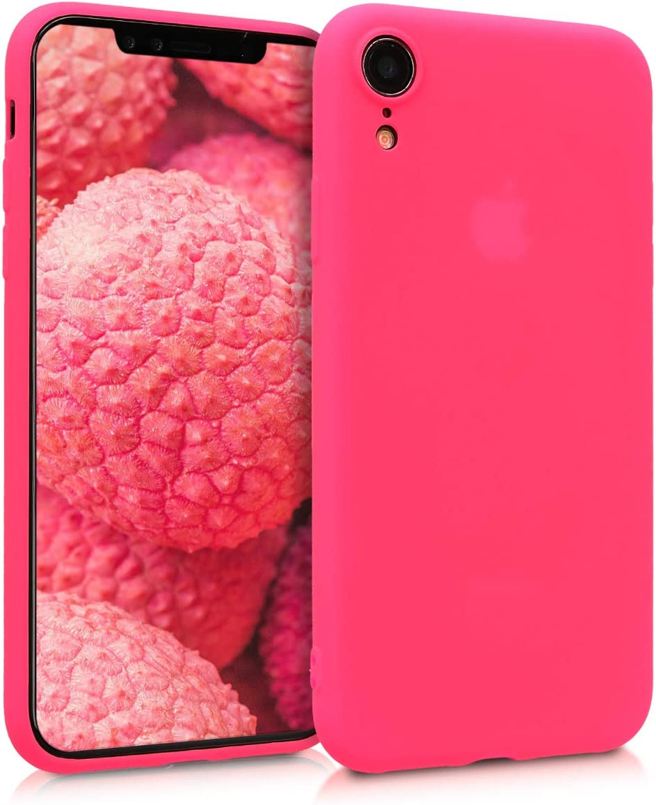 kwmobile TPU Silicone Case Compatible with Apple iPhone XR - Soft Flexible Protective Phone Cover - Neon Pink