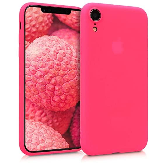 new style a042b c846b kwmobile TPU Silicone Case for Apple iPhone XR - Soft Flexible Shock  Absorbent Protective Phone Cover - Neon Pink