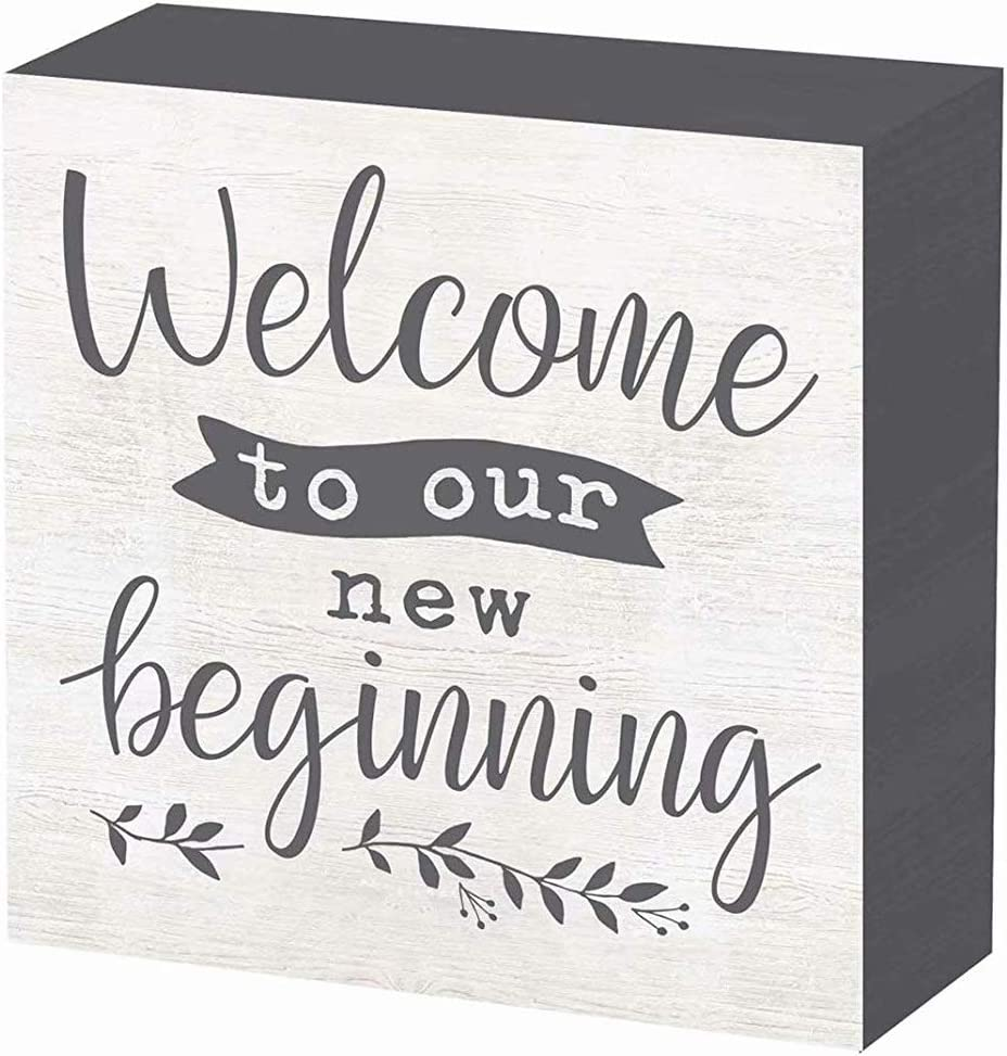 SANY DAYO HOME Welcome to Our New Beginning 6 x 6 inches Wood Box Wedding Signs for Wedding and Ceremony