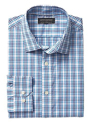 banana-republic-mens-non-iron-tailored-slim-fit-button-down-shirt-medium-teal-grid