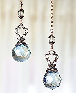 Set of 2 vintage style jeweled ceiling fan chain pulls clear elegant the lakeside collection set of 2 vintage jeweled fan pulls blue aloadofball Choice Image