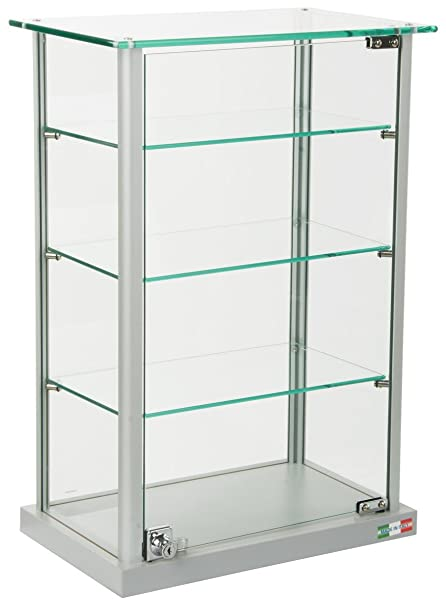 Small Curio Cabinet, Free Standing Glass Display Shelf, Adjustable,  Aluminum (Silver Base