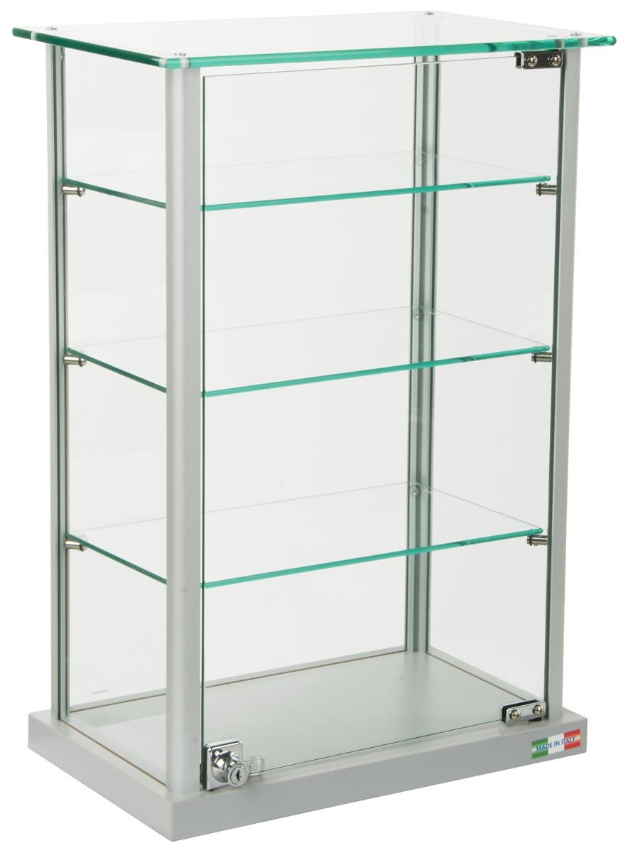 Small Curio Cabinet, Free Standing Glass Display Shelf, Adjustable, Aluminum (Silver Base) by Displays2go