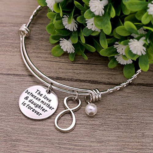 Melix Stainless Steel Mother Daughter Bangle Bracelet Adjustable, Gift For Mom From Daughter