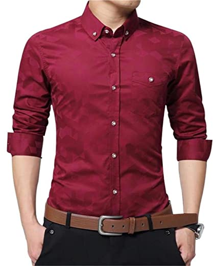 Ytd Mens 100 Percents Cotton Casual Slim Fit Long Sleeve Button Down Printed Dress Shirts by Ytd