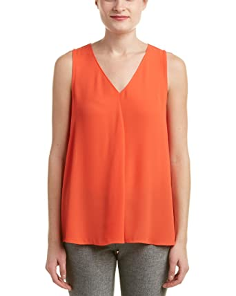 6f1065d113e5 Vince Camuto Women's Sleeveless V-Neck Drape Front Blouse Vivid Flame Blouse  at Amazon Women's Clothing store: