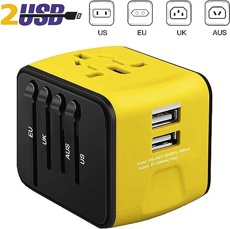 Noir iVoler Adaptateur de Voyage avec 2 USB Adaptateur Universel Pris de Courant pour UE//US//UK//AUS Utilis/é dans Plus de 150 Pays Adaptateur Chargeur