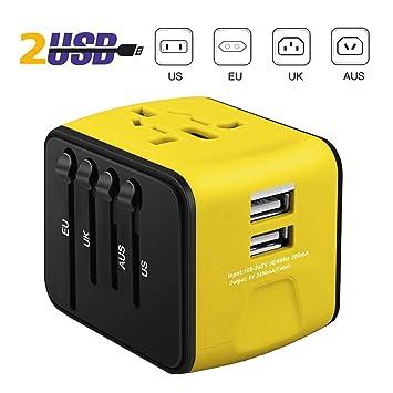 ivoler Adaptador Enchufe de Viaje Universal Cargador Internacional con MAX 2.4A Dos Puertos USB y Seguridad de Fusibles para US EU UK AU Japon Asia ...