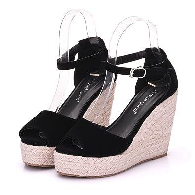 e73c2e607ea Wedge Sandals Platform Sandals for Women Peep Toe High Heels Platform Shoes  Black Wedges Sandals Platform