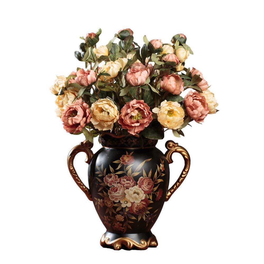 セラミック花瓶用花緑植物結婚式植木鉢装飾ホームオフィスデスク花瓶花バスケットフロア花瓶農村スタイル B07RGZ3JH4