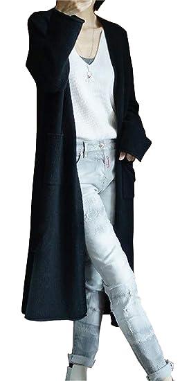 LONGMING Womens Winter Warm Wool Long Sleeve Loose Open Front Long Cardigan Sweater with Pockets