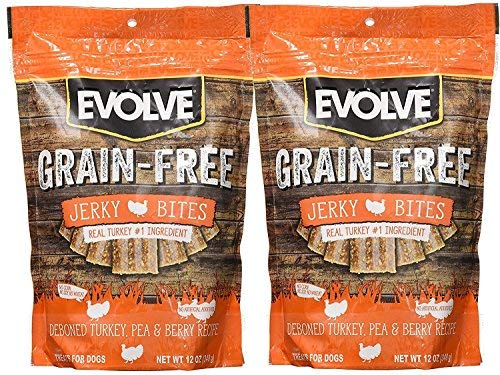 Evolve Grain Free Turkey, Pea, & Berry Jerky Bites 12 oz (2 Pack) from Evolve