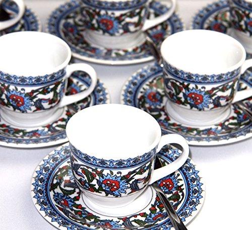 18 tlg. Espresso/Mokka Service mit orientalischen Paisley Motiven und Akkaya Teelöffeln