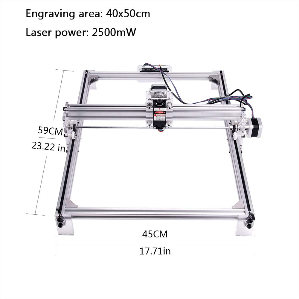 MYSWEETY DIY CNC Laser Engraver Kits, 40x50cm 2500mW Wood Carving Engraving Cutting Machine Desktop Printer Logo Picture Marking, 2 Axis by MYSWEETY (Image #2)