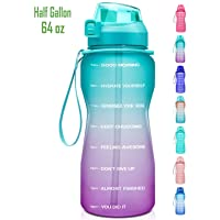 Fidus Large Half Gallon/64oz Motivational Water Bottle with Time Marker & Straw,...