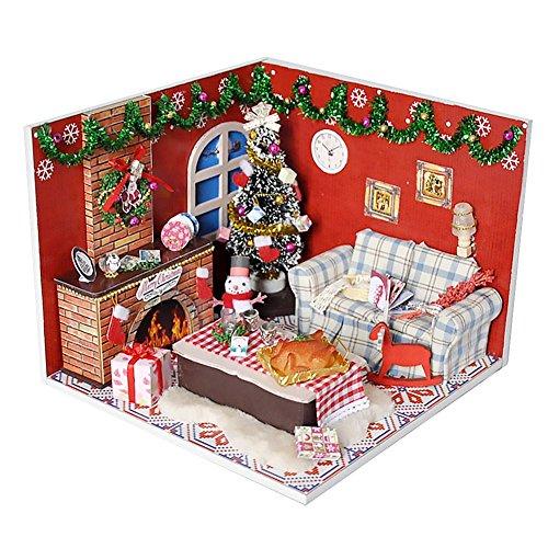 OSHIDE オシデ ドールハウス 楽しいクリスマス 手作りキットセット DIY LEDライト付属 北欧風 おもちゃ 組み立てキット 照明 点灯 ミニチュア インテリア クリスマス プレゼント 防塵カバー付き
