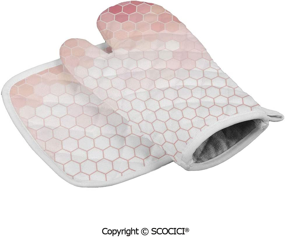 SCOCICI Baking Anti-Hot Glove Hexagon Forms Linked Abstract Beehive Gradient Toned Creative Image Oven Microwave Mitts Pot with Square Mat