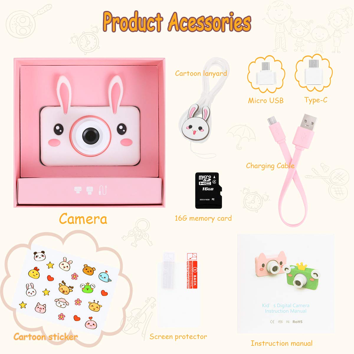 Kids Camera Gifts for Girls, 2'' IPS Screen 8.0MP Shockproof Mini Child Video Camera Camcorder for Age 3 - 14 Kids with Soft Rabbit Silicone Cover - Pink (16GB Memory Card Included) by AIXPI (Image #2)