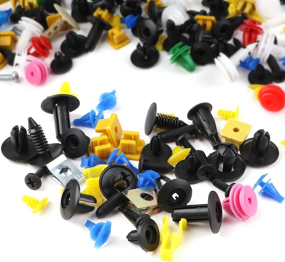 rivets de pare-chocs attaches en plastique fixation universelle outil de d/émontage 5 outils de d/émontage de panneau. Lot de 500 clips de garniture de voiture avec outil de retrait de panneau