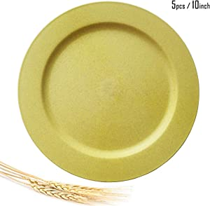 Greenandlife 10inch/5pcs Dishwasher & Microwave Safe Wheat Straw Plates - Lightweight & Unbreakable,Non-toxin, BPA free and Healthy for Kids Children Toddler & Adult (Yellow)