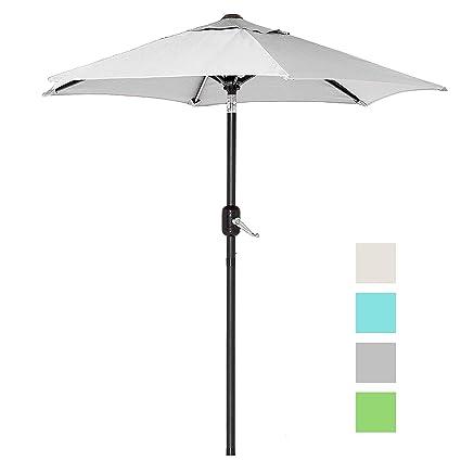 6 Ft Outdoor Patio Umbrella With Aluminum Pole, Easy Open/Close Crank And  Push