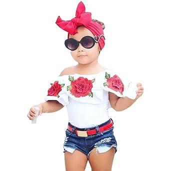 8667f4b4b9cca Filles Bébé épaules Dénudées ❤ Familizo Tenues de T-shirt de Fleur de Mode