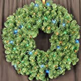 Queens of Christmas WL-GWSQ-04-L5M Pre-Lit LED Sequoia Wreath, 4', Multi-Color
