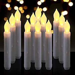 Flameless LED Taper Candle,Battery Operated Warm White Flickering Window Candle with Remote Control,Realistic LED Pillar Candle for Halloween,Christmas, Party, Wedding,Table Dining,Home Decor