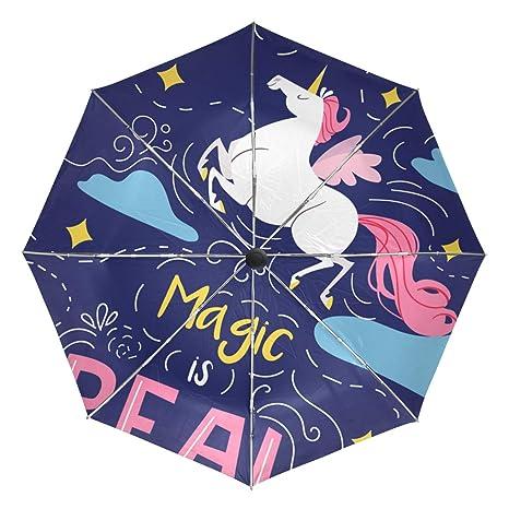 2cc0170682df Amazon.com: ATZUCL Magic is Real Unicorn Umbrella Folding Automatic ...