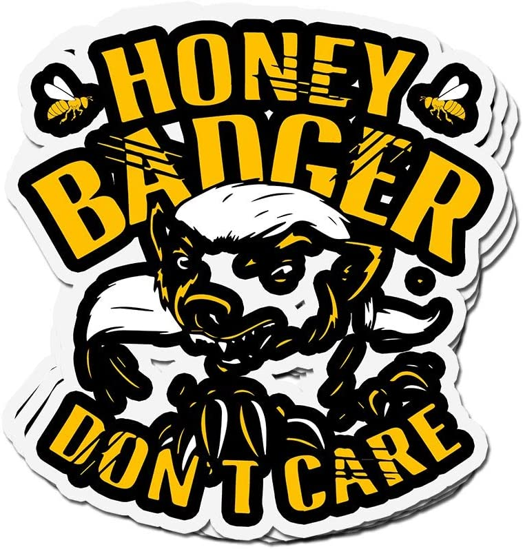 shopdoz 3 PCs Stickers Honey Badger Don't Care Beekeeper 4 × 3 Inch Die-Cut Wall Decals for Laptop Window