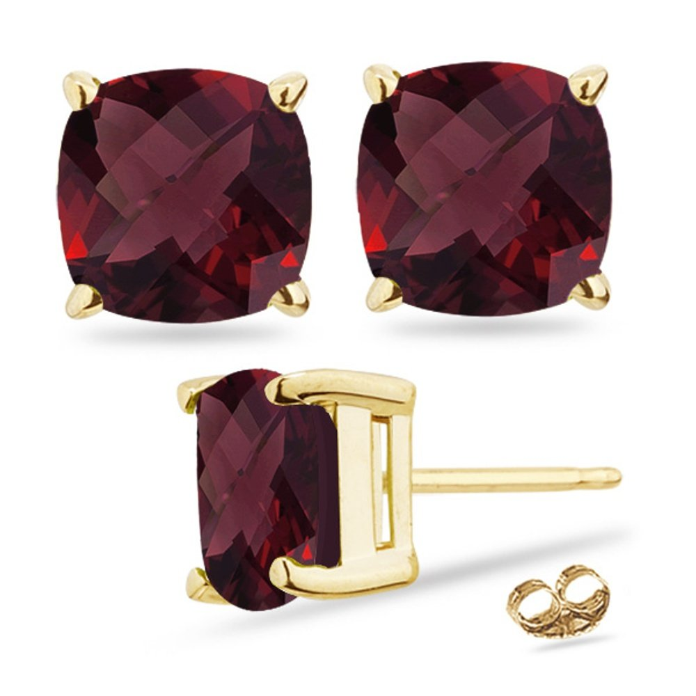 Holiday Offer - 4.70-5.01 Cts Garnet Stud Earrings in 14K Yellow Gold