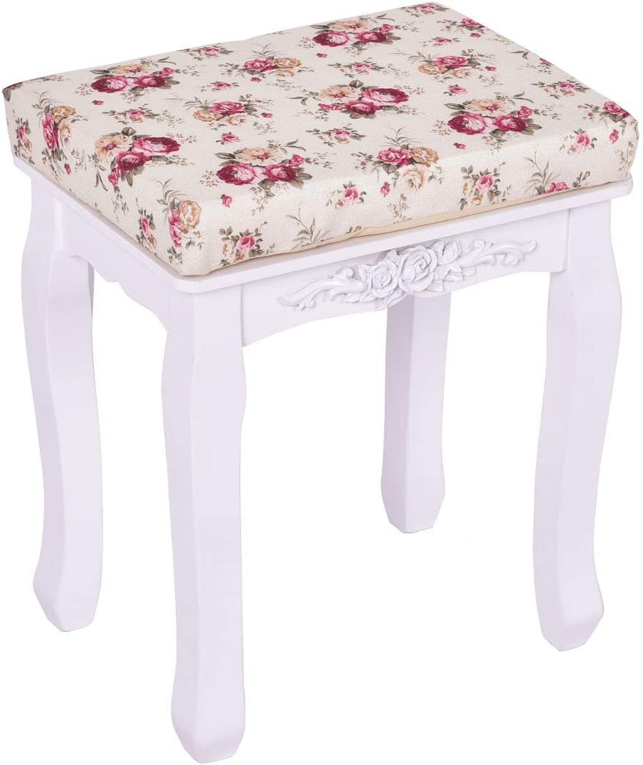 White Cushioned Vanity Stool Piano Seat with Rose Cushion Wood Cushioned Makeup Durable Construction Comfortable Cushion Sturdy and Stable Multi-Functional Use Good Decor Furniture Piano Stool White