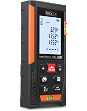 Tacklife Laser Measure 131Ft M/in/Ft Mute Laser Distance Meter with 2 Bubble Levels, Backlit LCD and Pythagorean Mode, Measure Distance, Area and Volume,Carry Pouch and Battery Included HD40