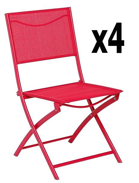 Lote de 4 sillas plegables BELVEDERE rojo, rojo-Tamaño: 45,5 ...