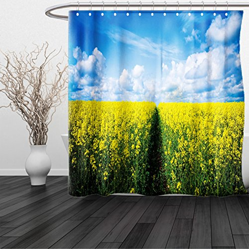 HAIXIA Shower Curtain Yellow Flower Pathway Through Meadow of Canola Flowers with Clear Blue Sky Farmland Field Yellow Blue