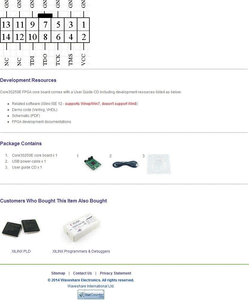 Amazon com: Waveshare XILINX Spartan-3E Core Board XC3S250E XILINX