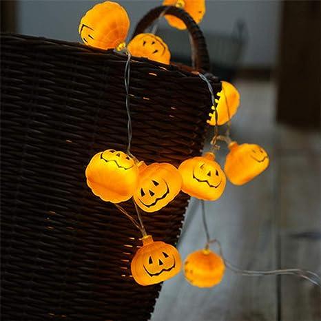 Cadena de Luces Halloween Calabaza, Morbuy Batería Decorativas LED Lámpara de Tira Bola Hada Noche