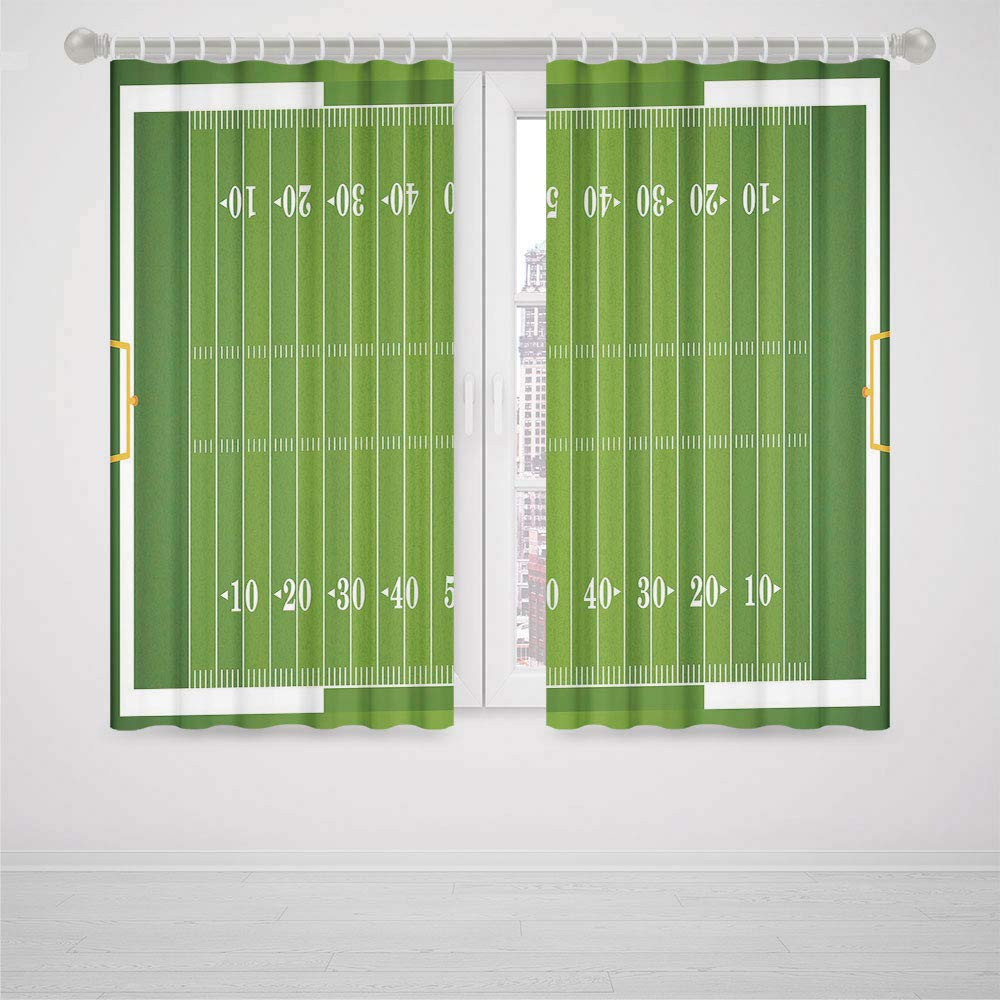 Bedroom Curtain Door Football Sports Field in Green Gridiron Yard Competitive Games College Teamwork Superbowl High-Precision Blackout CurtainGreen White