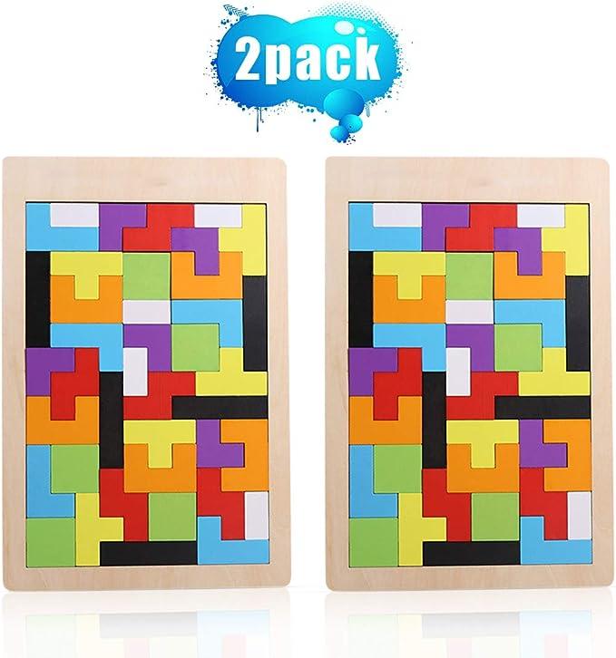 O-Kinee Tetris del Juguete Madera, 2 Tangram Rompecabezas Puzle de Madera de Entrenamiento Cerebral Montessori Geométricos Juego Educativo para Niños Mejor Regalo Educativo Temprano: Amazon.es: Juguetes y juegos