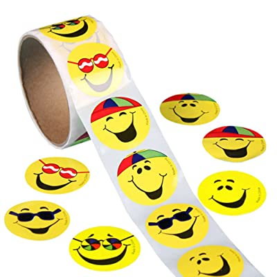 ULTNICE 100 Pcs Circle Smile Face Stickers Funny Toy Sticker for Children Kids: Toys & Games