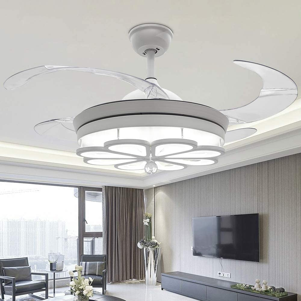 RS Lighting White Crystal Ceiling Fans -42 Inch with Retractable Blades Remote Fan Chandelier for Outdoor Indoor Room, Living Room Bedroom and Living Room Fan Light