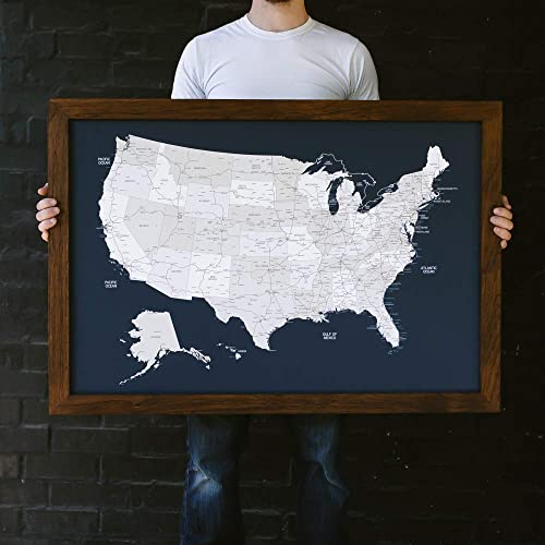 United States Map Picture Frame.Amazon Com Large Navy Us Map Push Pin Travel Map Framed United