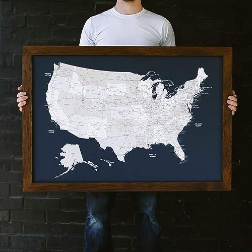Amazon Com Large Navy Us Map Push Pin Travel Map Framed United