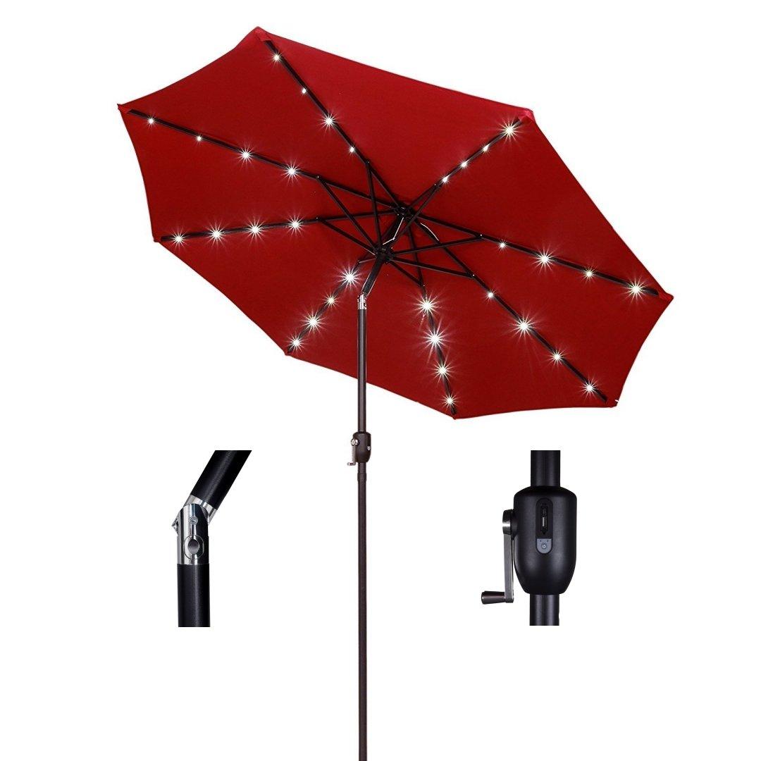 koonlert14 9ft Outdoor Patio Aluminium Umbrella Sunshade UV Blocking Solar Power LED w/Hand-Crank and Tilt Mechanism - Wine/Red #1903