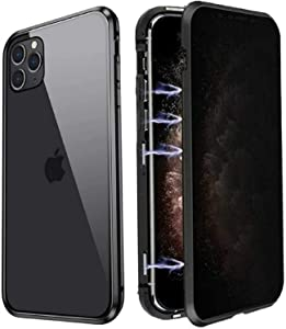 Anti Peeping Magnetic Case for iPhone 11 Pro Max, Privacy Magnetic Case with Clear Double Sided Tempered Glass [Magnet Absorption Metal Bumper Frame] Anti-spy Phone Case for iPhone 11 Pro Max, Black