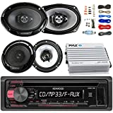 Kenwood KDC118 Car CD Player Receiver AUX Radio - Bundle Combo With 2x Kenwood 6.5 2-Way Black Car Coaxial Speakers + 2x 6x9 Inch 3-Way Speaker + 4-Channel Amplifier + Amp Kit